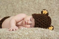 newborn sleeping baby boy on blanket Stock Photography