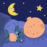 The baby is asleep hugging teddy bear. Vector illustration of a baby sleep Stock Image