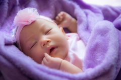 Baby is asleep on the purple bed, babies 2-3 months. Baby is asleep on the purple bed., babies 2-3 months Royalty Free Stock Photography