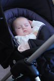 Baby asleep pushchair. Baby girl asleep in pushchair Stock Images
