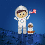 Baby astronaut with puppy Royalty Free Stock Photos