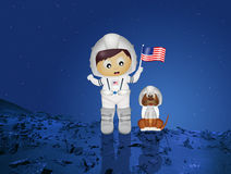 Baby astronaut with puppy Stock Images