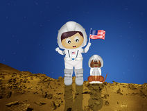 Baby astronaut to Mars. Illustration of baby astronaut to Mars vector illustration
