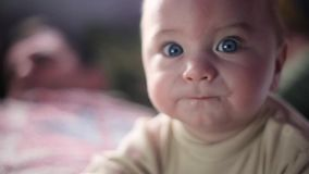 Baby Attentively watch TV. Darck backgroung, Frontal face in camera. Baby Attentively watch TV. Darck backgroung face in camera stock video footage