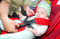 Baby in auto Royalty-vrije Stock Foto's