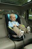 Baby in autozetel Royalty-vrije Stock Foto