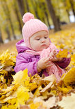 Baby in autumn forest. Little girl playing with leaves in autumn forest stock images
