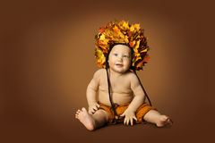 Baby Autumn Hat, Kid Sitting Fall Leaves Crown, Child Boy Stock Photos