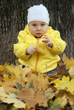 Baby and autumn leaves Royalty Free Stock Photos