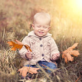 Baby with autumn leaves Stock Photography