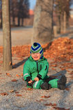 Baby in autumn park. Cute little boy in autumn park Royalty Free Stock Photo