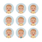 Baby avatars. Child emotions. Set of toddler facial expressions. Cartoon style characters. Vector Illustration