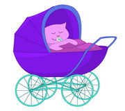 Baby in the baby carriage Royalty Free Stock Image