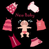 Baby and baby clothes. An illustration of a new crying baby and several pinkish articles of baby clothes on a black background. Also in vector format Royalty Free Stock Image