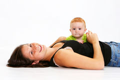 Baby and Babysitter Royalty Free Stock Photos