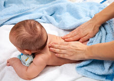 Baby back massage Stock Photos