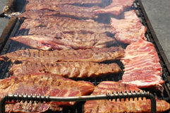 Baby Back Ribs. Ribs on the bbq royalty free stock images