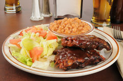Baby back ribs and salad Stock Photography