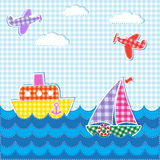 Baby background. With aircrafts and ships. Vector textile stickers Stock Photos