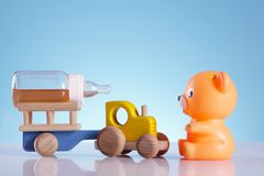 Baby background, bear and tractor Stock Photo