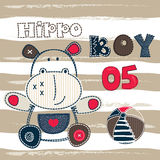 Baby background with cartoon hippo Stock Photos