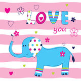 Baby background with cute elephant Stock Photos