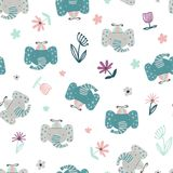 Baby background with funny elephants. Funny seamless pattern with cute elephant heads, leaves and flowers in a doodle style. Vector illustration for children stock illustration
