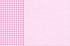 Baby Background. Pink gingham on the side with a plush pink background with copy-space for your message Royalty Free Stock Images