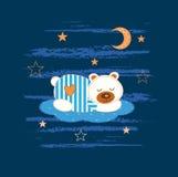 Baby background with sleeping bear Stock Image