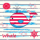 Baby Background With Cute Whale Royalty Free Stock Images