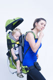 Baby in Backpack Stock Images