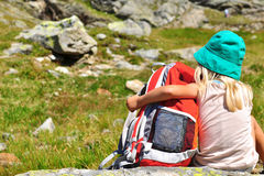 Baby with a backpack Royalty Free Stock Images