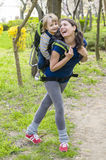 Baby in Backpack Royalty Free Stock Image