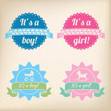 Baby badges for girls and boys Royalty Free Stock Photography