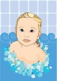 Baby in badkamers Royalty-vrije Stock Afbeeldingen