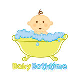 Baby-Badzeit Logoschablone, Baby, das Logo, Babyparty badet stock abbildung