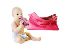 Baby with a bag Stock Photos