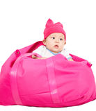 Baby in bag. Royalty Free Stock Photo