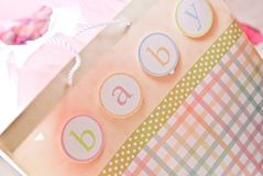 Baby bag in pastels. For a baby shower Royalty Free Stock Image