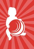 The baby with a ball. Silhouette of the baby with a ball on a red background with light-red strips Stock Photos