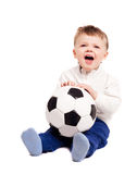 Baby with a ball. Happy  screaming baby with a football ball,  on white background Royalty Free Stock Image