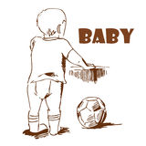 Baby with a ball. Hand-drawing. Baby. Hand-drawing. The kid looks into the distance vector illustration