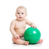 Baby with ball isolated on a white Royalty Free Stock Photography