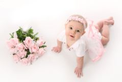 Free Baby Ballerina With Pink Roses Stock Photo - 17508600