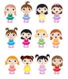 Baby ballerinas. A set of cute little baby ballerina mascots Stock Photos