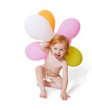 Baby with ballon. Isolated on white Royalty Free Stock Photos