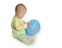 Baby with balloon. On white stock image