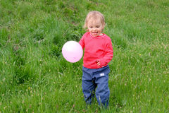 Baby and balloons stock photos