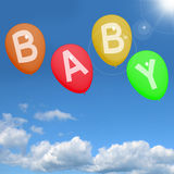 Baby Balloons In Sky Showing Newborn Stock Photography