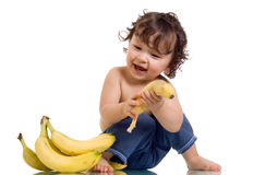 Baby with banana. Stock Photos